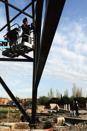 ALCALA DE HENARES , Spain - 04 April 2011- Welding . Construction of the Museum