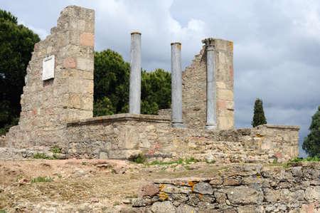 civililization: Temple dedicated  Imperial Cult of the Roman city of  MIROBRIGA  (1st -4 th AD) SANTIAGO DO CACEM  Alentejo Region  PORTUGAL.  Editorial