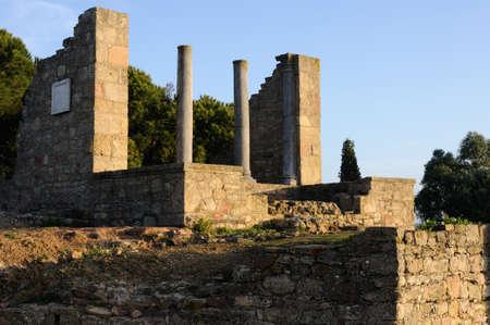 Temple dedicated  Imperial Cult of the Roman city of  MIROBRIGA  (1st -4 th AD) SANTIAGO DO CACEM  Alentejo Region  PORTUGAL Stock Photo - 12142596