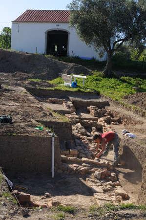 archaeologists: Archeological site  of the Roman city of  MIROBRIGA  (1st -4 th AD) SANTIAGO DO CACEM  Alentejo Region  PORTUGAL.