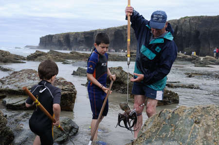 Boys learn fishing octopus   ' PRAIA AS CATEDRAIS ' -  RIBADEO COUNCIL.  Province of  Lugo.  Galiza . SPAIN