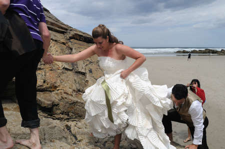 Wedding couple in photo shoot