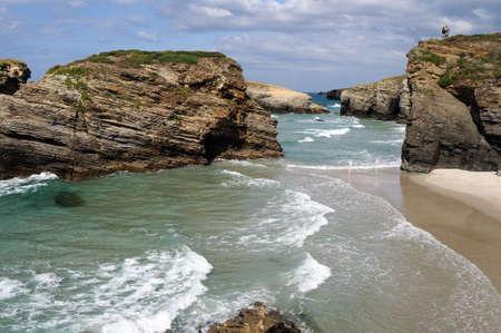 PRAIA AS CATEDRAIS  -  RIBADEO COUNCIL.  Province of  Lugo.  Galiza . SPAIN     Stock Photo