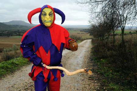 fiestas: Razbona , SPAIN - 6 JANUARY, 2011 -  Mask    La Botarga   magical characters at carnival. ( Crop improvement ). Asking for alms in  RAZBONA    Province of  Guadalajara.  Castille- La Mancha . SPAIN