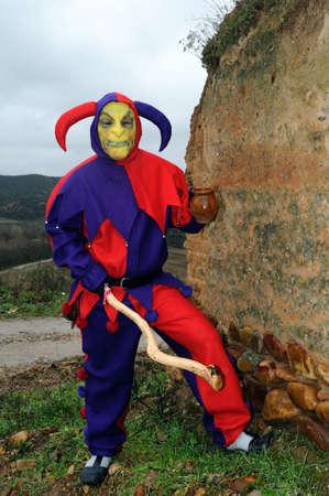 castille: Razbona , SPAIN - 6 JANUARY, 2011 -  Mask    La Botarga   magical characters at carnival. ( Crop improvement ). Asking for alms in  RAZBONA    Province of  Guadalajara.  Castille- La Mancha . SPAIN