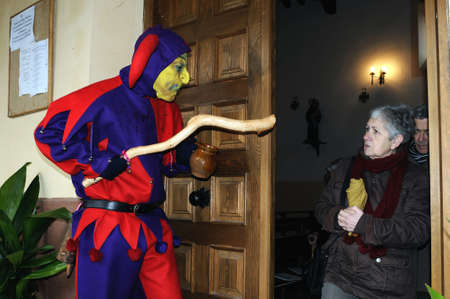 Razbona , SPAIN - 6 JANUARY, 2011 -  Mask    La Botarga   magical characters at carnival. ( Crop improvement ). Asking for alms in the church  RAZBONA   .  Guadalajara.  Castille- La Mancha . SPAIN