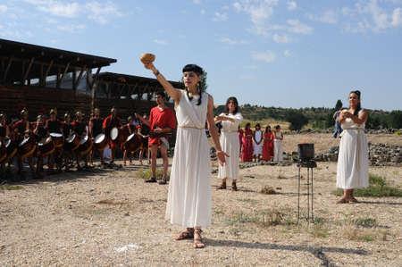 bacchus: SPAIN. Castilla y Le�n .Burgos .Ba�os de Valdearados .   Feast of Bacchus  ;  Invocation ceremony to the god Bacchus in the Roman Villa of Santa Cruz.