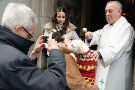 Madrid , SPAIN - 17 JANUARY ,2011. -  SAN ANTON Church   Festivity of St. Anton ( Animals Patron ) on January 17  .