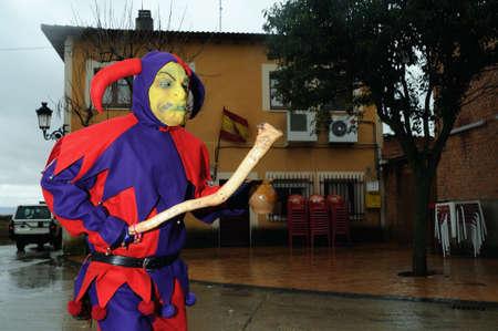 castille: Razbona , SPAIN - 6 JANUARY, 2011 - Mask    La Botarga   magical characters at carnival. ( Crop improvement ). Asking for alms in  RAZBONA    Province of  Guadalajara.  Castille- La Mancha . SPAIN   Editorial