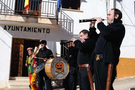 castille: Retiendas, SPAIN - 06 FEBRUARY,2011 - ; CARNIVAL   Botarga - Motley  LA CANDELARIA     RETIENDAS  ( Tamaj�n mountain range ) Province of Guadalajara. Castille- La Mancha . SPAIN