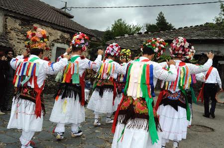 castille:  Dancers   Fiesta del Santo Ni�o  MAJAELRAYO ( Black Architecture route ) Province of Guadalajara . Castille - La Mancha . SPAIN Editorial