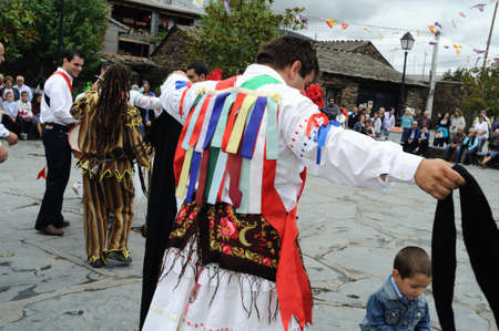 rites:  Tape Dance   during   Fiesta del Santo Ni�o  MAJAELRAYO ( Black Architecture route ) Province of Guadalajara . Castille - La Mancha . SPAIN