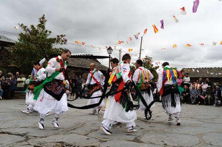 Tape Dance   during   Fiesta del Santo Niño  MAJAELRAYO ( Black Architecture route ) Province of Guadalajara . Castille - La Mancha . SPAIN Editorial