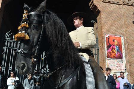 bullfight on horseback: Madrid ,SPAIN- 30 October ,2011  Fiesta de la Trashumancia   Transhumance Festival . Madrid .SPAIN