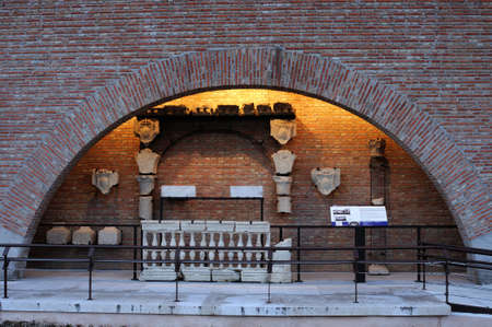 balustrades: Pieces . Renaissance (  Plateresque )   Ave Mar? Gallery  - ARCHBISHOPS PALACE    belonging to the ANTIQUARIUM - Wall of  ALCALA DE HENARES ( 13 th ). Community of Madrid .SPAIN  Editorial
