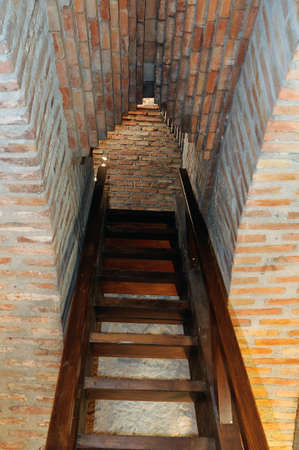Staircase- Interior Watchtower  belonging to the Wall of  ALCALA DE HENARES ( 13 th ). Community of Madrid .SPAIN Stock Photo - 13714449