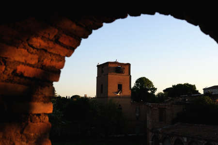Balcony - Tower  belonging to the Wall of  ALCALA DE HENARES ( 13 th ). Community of Madrid .SPAIN  Stock Photo - 13714435