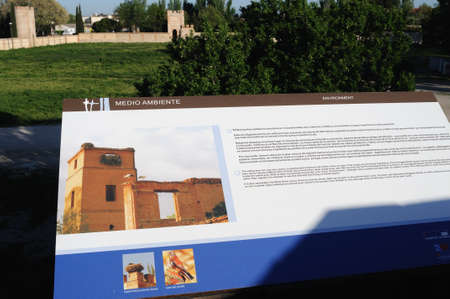 Sign  explanatory  belonging to the Wall of  ALCALA DE HENARES ( 13 th ). Community of Madrid .SPAIN  Stock Photo - 13714442