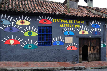 window graffiti:   La Candelaria   in  BOGOTA  Department of Cundimarca  COLOMBIA