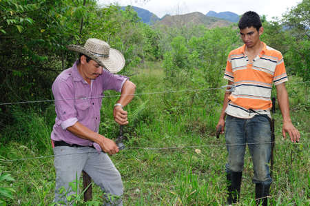 Repairing fence in RIVERA . Department of Huila. COLOMBIA Stock Photo - 15055088