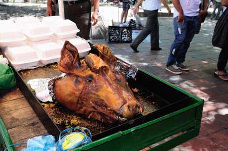 cerdo:  Asado Huilense ( pork ) Plaza Santander in  NEIVA. Department of Huila. COLOMBIA