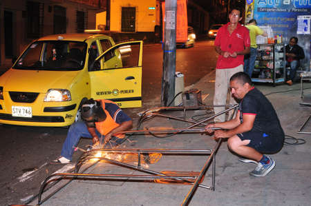 antioquia: Awning - Welding workshop (  calle Bombon� )  in  MEDELLIN .Department of Antioquia. COLOMBIA Editorial