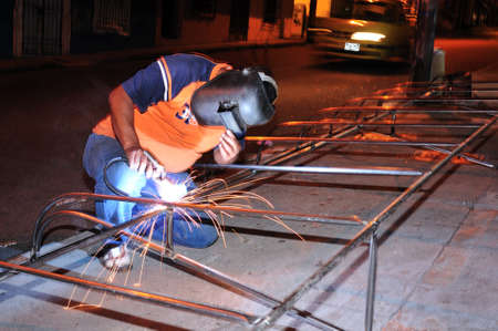 antioquia: Awning - Welding workshop (  calle Bombon?  in  MEDELLIN .Department of Antioquia. COLOMBIA