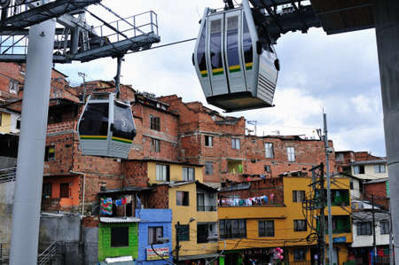 comunas: Metrocable - Santo Domingo district  in MEDELLIN  Department of Antioquia  COLOMBIA Editorial