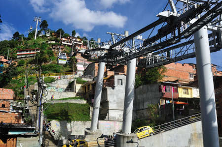 comunas: Metrocable  Station - Santo Domingo district  in MEDELLIN .Department of Antioquia. COLOMBIA