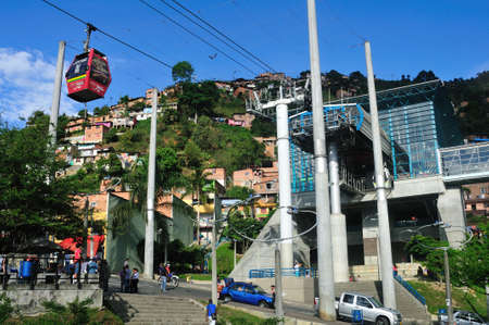 Metrocable  Station - Santo Domingo district  in MEDELLIN .Department of Antioquia. COLOMBIA