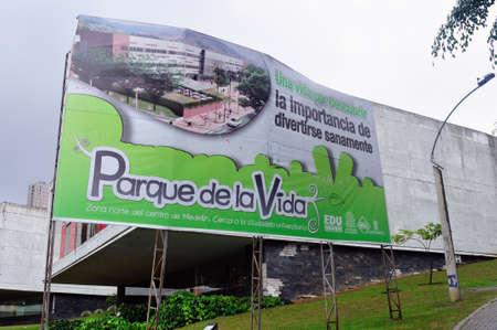 comuna:  Parque de la Vida  Sign -  Comuna 8  in MEDELLIN .Department of Antioquia. COLOMBIA