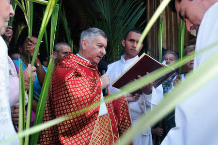 antioquia: Blessing Palm Sunday at Easter in San Jose Church -  MEDELLIN .Department of Antioquia. COLOMBIA   Editorial