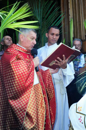 palm sunday: Blessing Palm Sunday at Easter in San Jose Church -  MEDELLIN .Department of Antioquia. COLOMBIA   Editorial