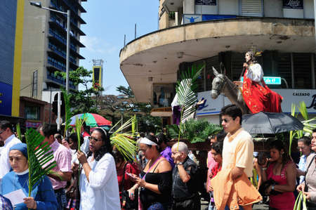 palm sunday: Palm Sunday at Easter in Center of  MEDELLIN .Department of Antioquia. COLOMBIA