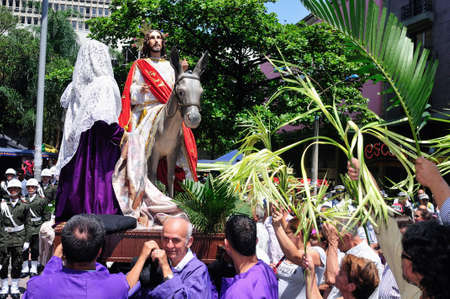 procession: Palm Sunday at Easter in Center of  MEDELLIN .Department of Antioquia. COLOMBIA