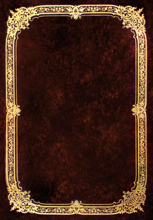 bordeaux: Old brown book cover with golden frame