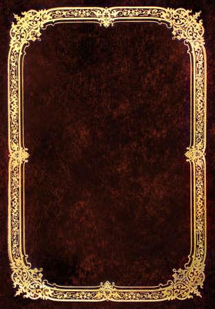 portadas de libros: Vieja cubierta de libro marr�n con marco de oro