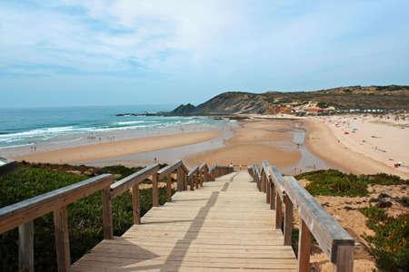 Amoreira beach view in Algarve atlantic coast photo