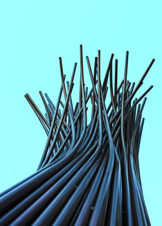 Vertical tubular abstract structure with end top tubes disorder photo
