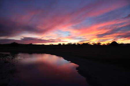 hotness: Night Purple reflex on the lagoon Stock Photo