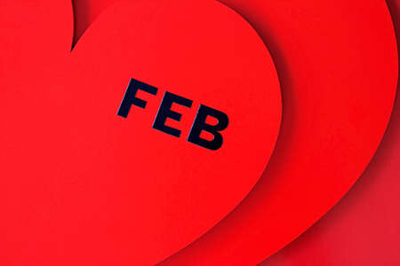 Valentines Day dated in red heart isolated on red Stock Photo - 8627485