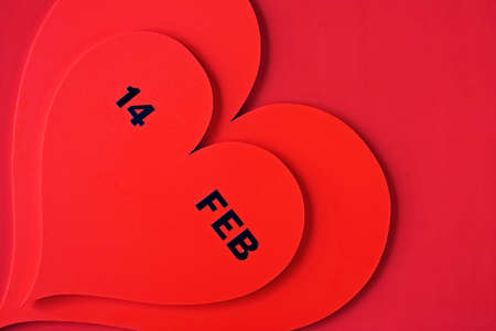 Valentine s Day dated in red heart isolated on red Stock Photo - 8688236