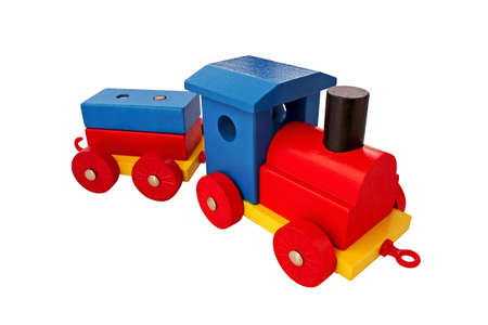 wood railway: colorful wooden toy train isolated in white Stock Photo