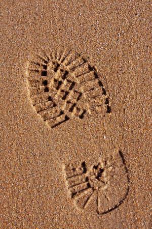 Footprint in the golden wet sand of a beach Stock Photo - 9017919