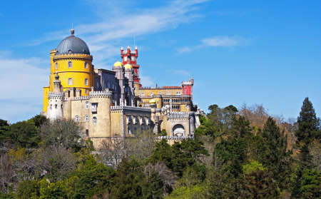 View of the beautiful of Pena palace in the national park of the Sintra hills in Portugal Stock Photo
