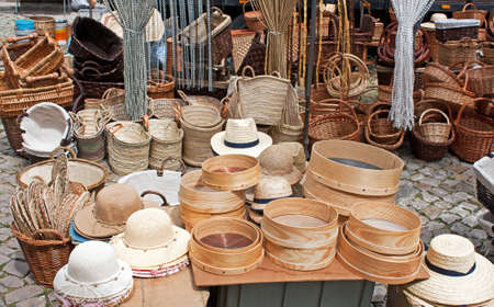 fairs: Hats and basketry in a fair shop