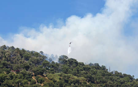 Helicopter working in extinguishing forest fire, using water, on the mountain  photo