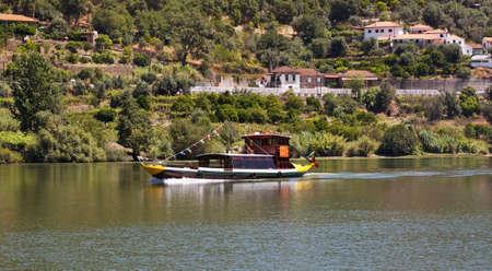 rabelo: Traditional rabelo boat  at Porto de Rei in the Douro river in Porto, Portugal