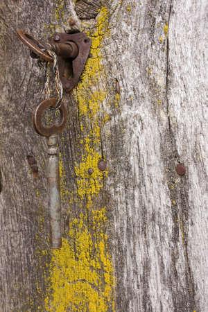 Keys in the rusty lock of an old wooden door  photo