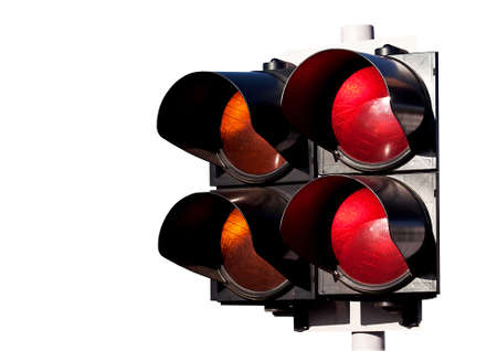 Double of traffic lights, orange and red, to sports racing of cars isolated on white photo